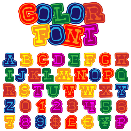 Multicolored vector cartoon font. English letters and numbers for holiday design.