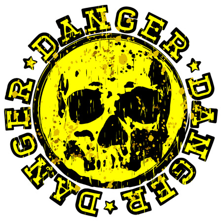Vector illustration yellow stamp with inscription in circle danger and stars. In center stamp symbol grunge skull