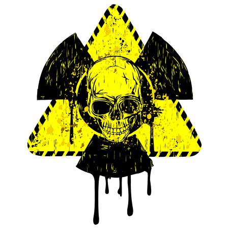 Ilustración vectorial amarillo viejo triángulo sucio radiación signo y cráneo abstracto Ilustración de vector
