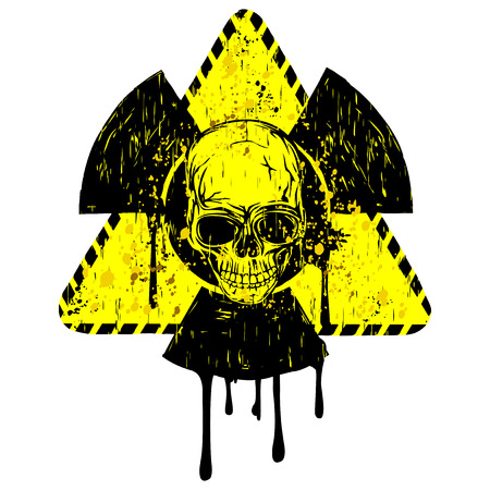 Vector illustration yellow old dirty triangle radiation sign and abstract skull Illustration