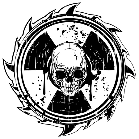 toxicity: Abstract vector illustration grunge black skull and symbol radiation Illustration