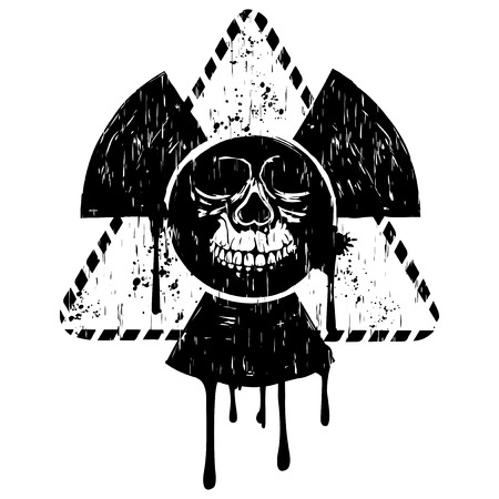 toxicity: Vector illustration black triangular radiation sign and abstract grunge skull Illustration