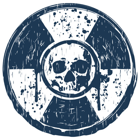 Vector illustration blue old dirty round radiation sign and abstract grunge skull Illustration