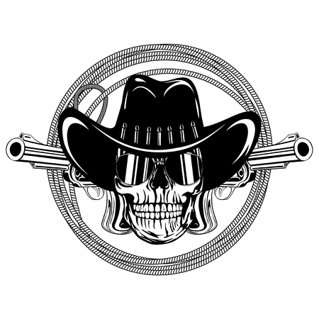 lawman: Vector illustration cowboy skull with sunglasses in hat and two revolvers on lasso.