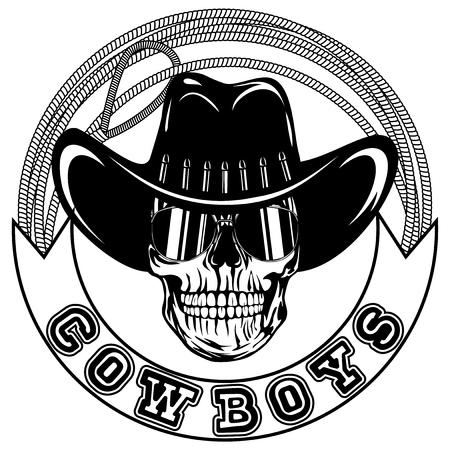 Vector illustration cowboy skull with sunglasses in hat and lasso. Lettering cowboys.