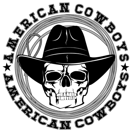 Vector illustration cowboy skull in hat and lasso. Lettering american cowboys.