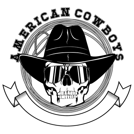 Vector illustration cowboy skull with sunglasses in hat and lasso. Lettering american cowboys.