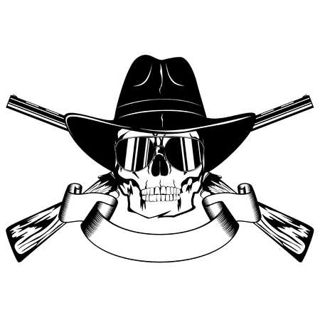 lawman: Vector illustration skull with sunglasses in cowboy hat and crossed rifles.