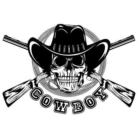 lawman: Vector illustration skull in cowboy hat and crossed rifles. Lettering cowboy. Illustration