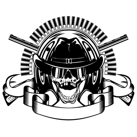 Vector illustration skull with sunglasses in cowboy hat and crossed rifles on horseshoe and ammunition.