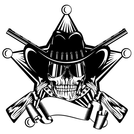 Vector illustration skull with sunglasses in cowboy hat and crossed rifles on sheriff star. Illustration