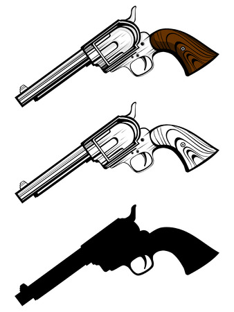 Vector illustration revolvers set. Color, black and white and silhouette pistols.