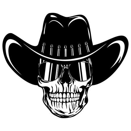 Vector illustration cowboy skull with sunglasses in hat Vektorové ilustrace