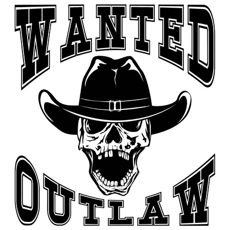 marshal: Vector illustration cowboy skull in hat and lettering wanted and outlaw.