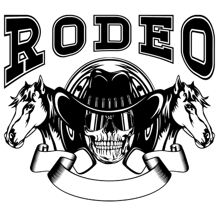Vector illustration skull in cowboy hat and two horses on horseshoe. Lettering rodeo.