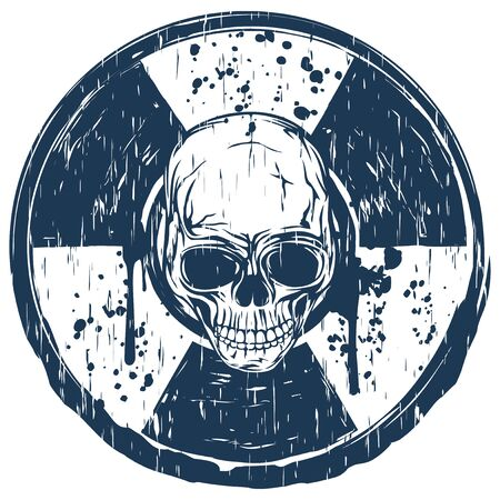 Vector illustration blue old dirty round radiation sign and abstract skull. Illustration