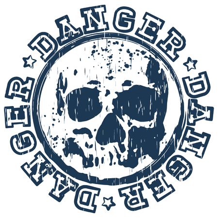 old stamp: Vector illustration old dirty round stamp with lettering danger and abstract grunge skull Illustration