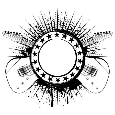 Vector illustration guitars and frame on grunge background