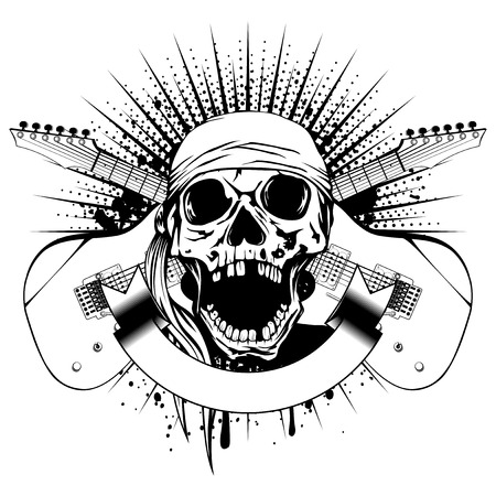 Vector illustration skull with open jaw in bandana and crossed guitars on dirty background. Hard rock design for t-shirt or tattoo