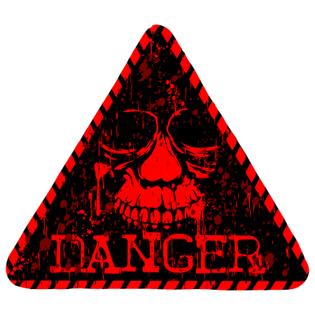 Vector illustration red and black triangular sign with letterind danger and grunge skull Illustration