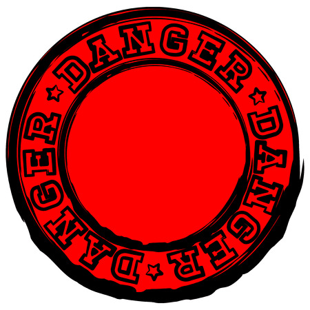 soiled: Vector illustration red stamp with inscription in circle danger and stars