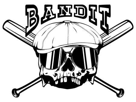 Vector illustration skull in cap with sunglasses on crossed bats. Inscription bandit. For t-shirt or tattoo design. Illustration