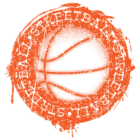 baller: Vector illustration basketball ball on grunge background and inscription streetball for t-shirt design