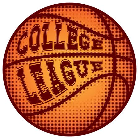 baller: Vector illustration basketball ball and inscription college league