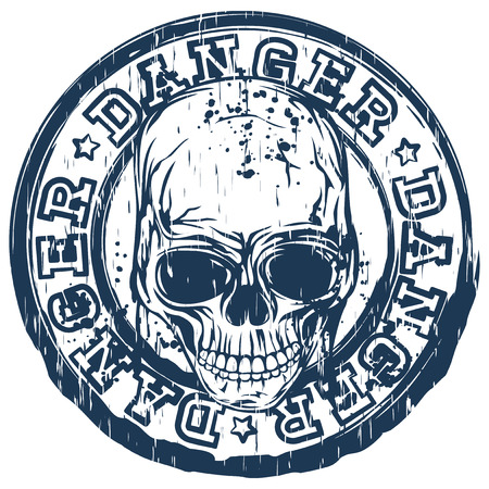 old stamp: Vector illustration blue old dirty round stamp with lettering danger and abstract grunge skull