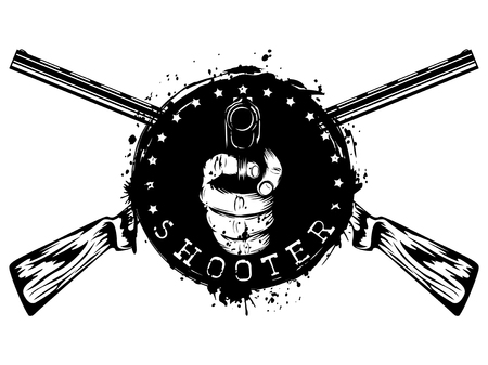 Vector illustration two crossed rifles and hand with pistol on grunge background. Inscription shooter. For tattoo or t-shirt design. Illustration