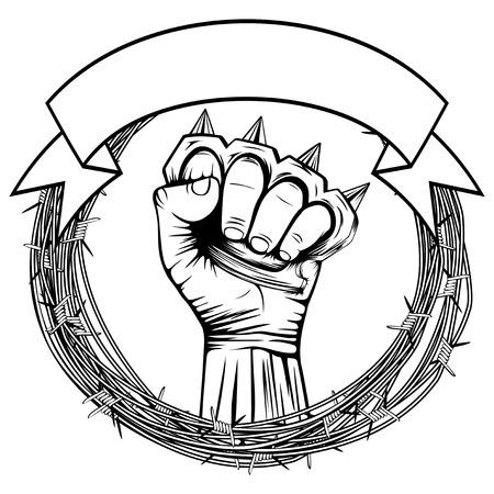 insignia: Ilustración del vector del alambre de púas y mano con los nudillos de latón. Para el tatuaje o diseño de la camiseta.