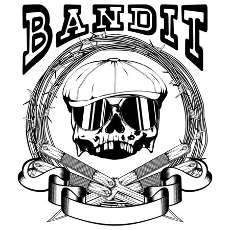 Vector illustration skull in cap with sunglasses and crossed knifes on barbed wire. Inscription bandit. For tattoo or t-shirt design. Illustration