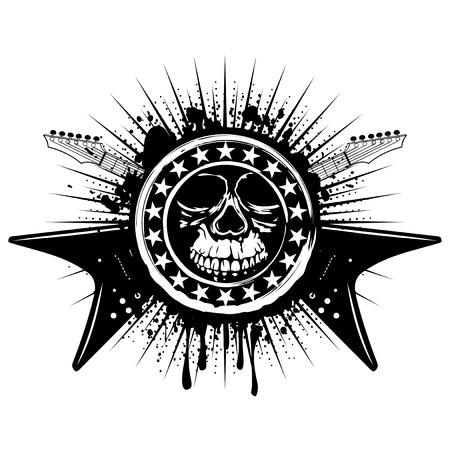 heavy metal: Vector illustration grunge skull stamp with stars and crossed guitars on dirty background. Hard rock sign. Design for t-shirt or poster print