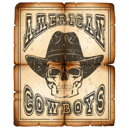 Ilustración de vector cráneo con sombrero en el viejo papel de grunge. Letras de vaqueros amerikanos.