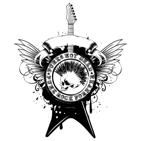 Vector illustration stamp and electric guitar on wings and grunge background. Imprint contains skull with mohawk and lettering punk not dead and punk rock forever. Design for t-shirt or poster print
