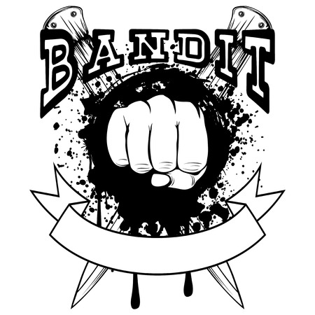 Vector illustration fist on crossed knifes and grunge background. Inscription bandit. For tattoo or t-shirt design. Vectores