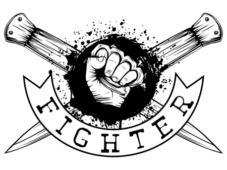 Vector illustration hand with brass knuckle on crossed knifes and grunge background. Inscription fighter. For tattoo or t-shirt design.