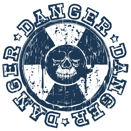 radiactividad: Vector illustration blue round stamp with radioactivity sign and inscription in circle danger. In center of radiation symbol abstract grunge skull