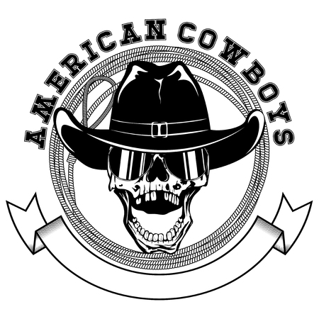 murdering: Vector illustration cowboy skull with sunglasses in hat and lasso. Lettering american cowboys.