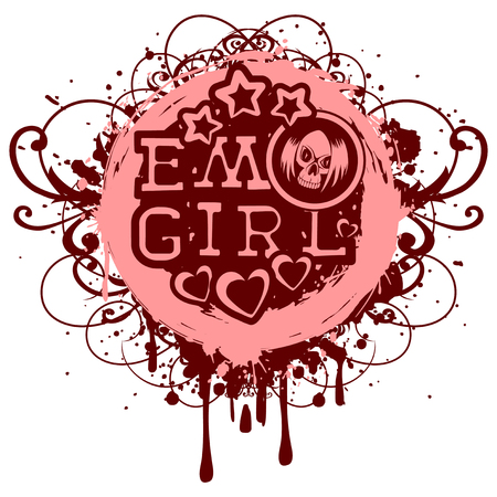 Vector illustration inscription emo girl with stars and hearts on grunge background with patterns. Cartoon skull with hair. For t-shirt design.