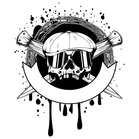 Vector illustration skull in cap with sunglasses on crossed knifes and barbed wire. For tattoo or t-shirt design. Illustration