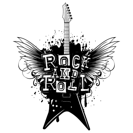 Vector illustration guitar and lettering rock and roll on grunge background