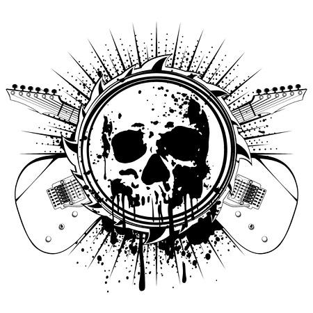 Vector illustration grunge skull and crossed guitars on dirty background. Hard rock sign. Design for t-shirt or poster print