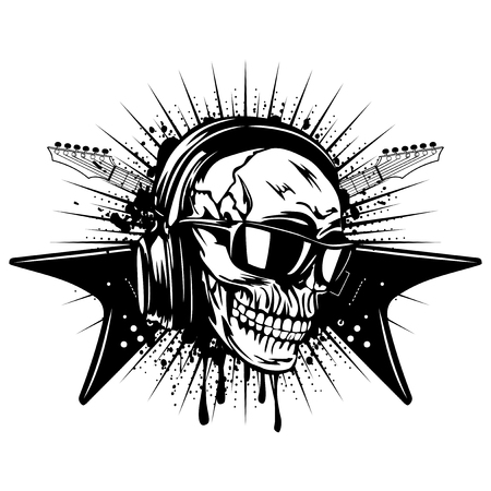Vector illustration skull and crossed black guitars on grunge background. Skull with sunglasses and earphone. Design rock and roll sign for t-shirt or poster print Ilustração