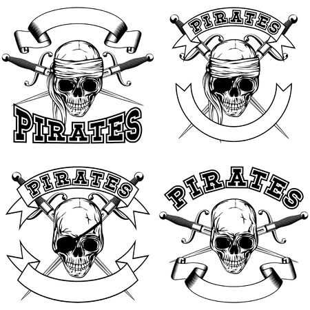 cocked hat: Vector illustration pirate skull and crossed daggers. Pirate emblem set.