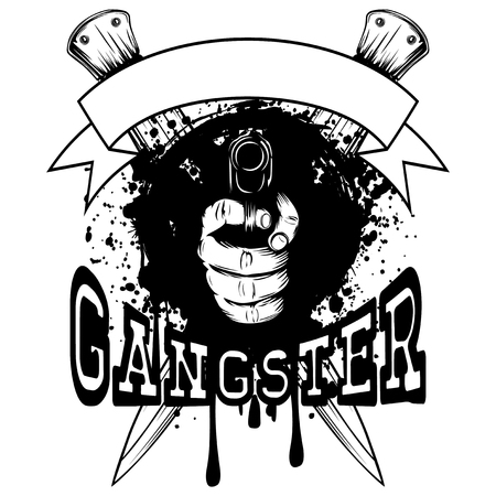 Vector illustration hand with pistol on crossed daggers and grunge background. Inscription gangster. For tattoo or t-shirt design. Illustration