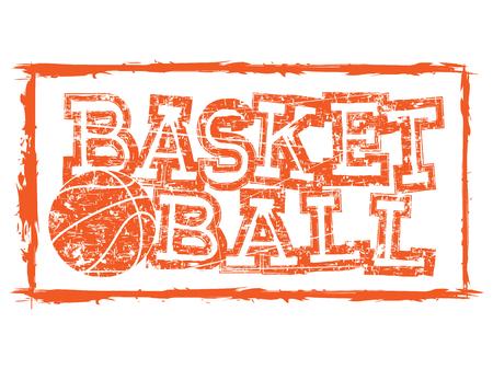 baller: Vector illustration orange inscription basketball with basketball ball on grunge pattern.