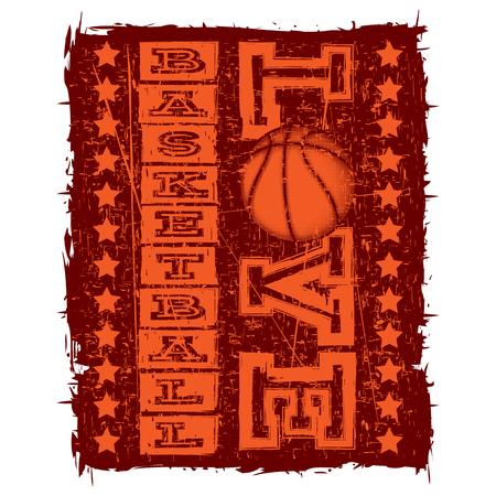 baller: Vector illustration orange inscription love basketball on grunge background with basketball ball.