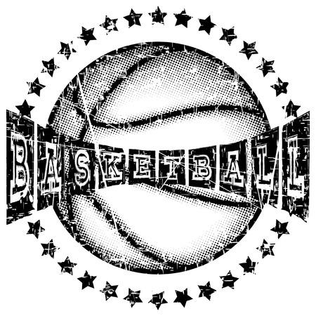 baller: Vector illustration basketball ball and inscription basketball for t-shirt design