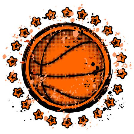 Vector illustration basketball ball with stars on grunge pattern for t-shirt design.